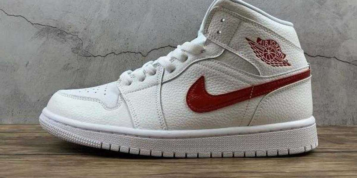 Shop Air Jordan 1 Mid White University Red with Special Offer